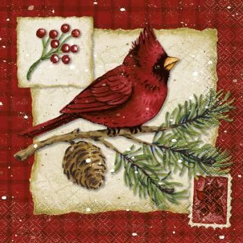 16 Serviettes Noël cardinal