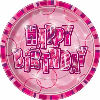 8 Assiettes Happy Birthday Pink