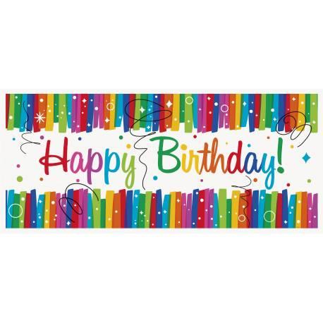 Bannière Happy Birthday Rainbow en plastique souple pour la deco de vos tables d'anniversaire. Dimensions : 150 cm x 70 cm