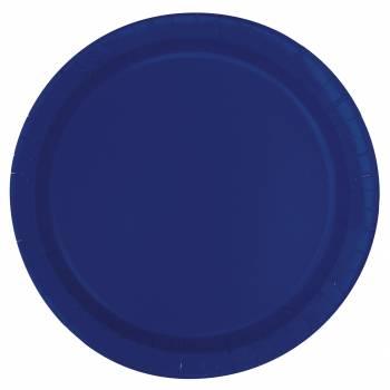 20 Assiettes dessert rondes bleu marine