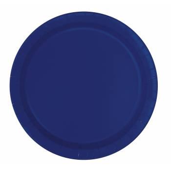 16 Assiettes en carton rondes bleu marine