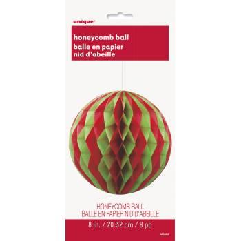 Boule nid d'abeille rouge et verte Noël