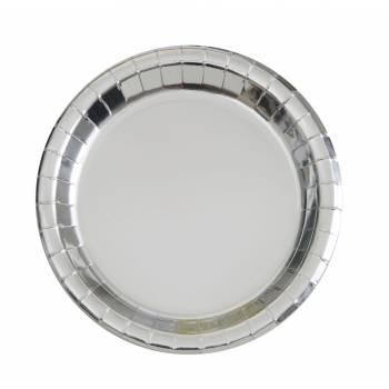 8 Assiettes rondes en carton argent métallisé