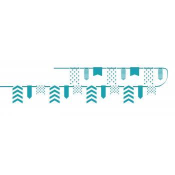 Guirlande fanions chevrons pois turquoise