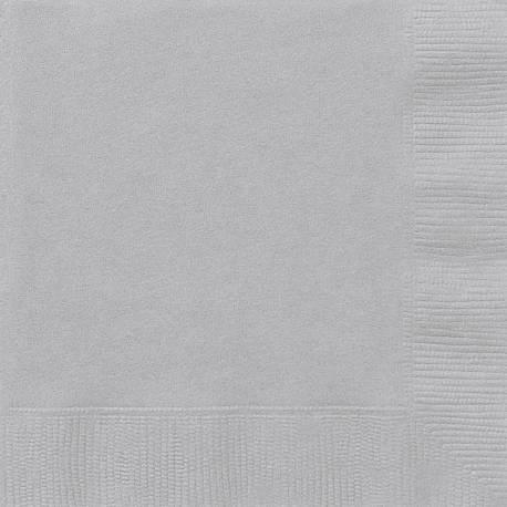 20 Serviettes en papier argent 33 cm x 33 cm