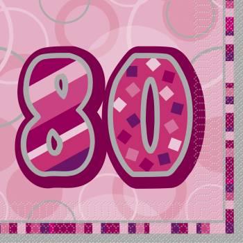 16 Serviettes 80 ans Pink