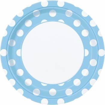 8 Assiettes bleu clair à pois