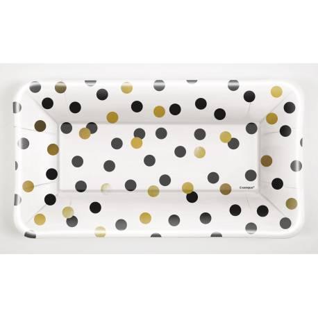 8 Plateaux en carton décor blanc or noir et argent idéal pour vos tables de fête Dimensions : 23.5cm x 13cm