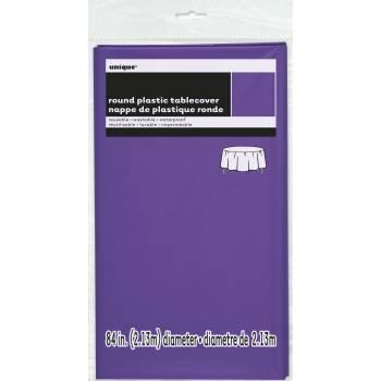 Nappe en plastique ronde fluo violette