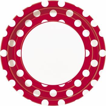 8 Assiettes pois rouge