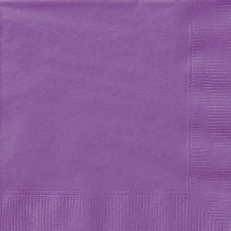 20 Serviettes en papier violette claire dimension dépliée : 33 cm x 33 cm