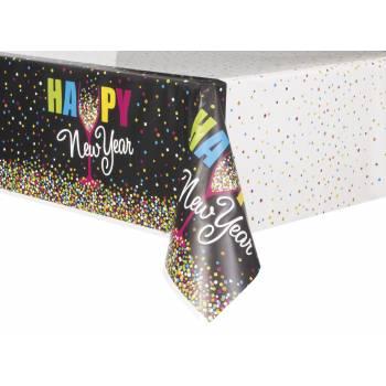 Nappe en plastique Happy New year confettis
