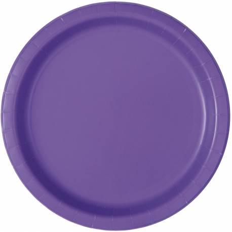 20 assiettes a dessert rondes en carton fluo violette Ø 18 cm