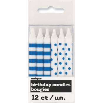 12 Bougies pois/rayures bleu pour gateau