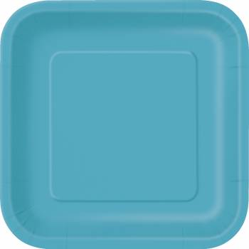 14 Assiettes carrée bleu caraïbe