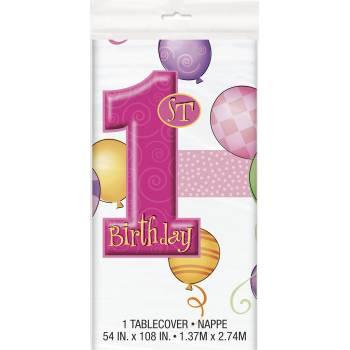 Nappe en plastique 1 an Ballons rose