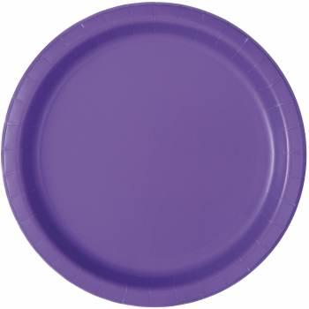 16 Assiettes en carton rondes fluo violette