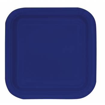 14 Assiettes carrée bleu marine