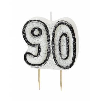 Bougie 90 ans Black/White pailleté