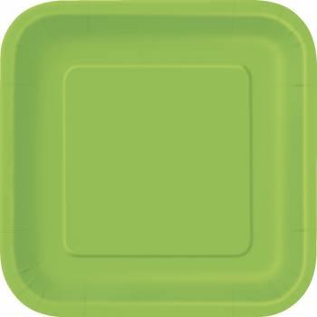 16 Assiettes dessert carrée vert lime