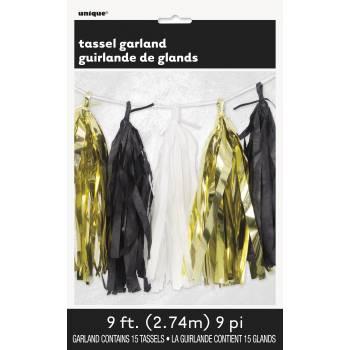 Guirlande de pompons franges or noir et blanc