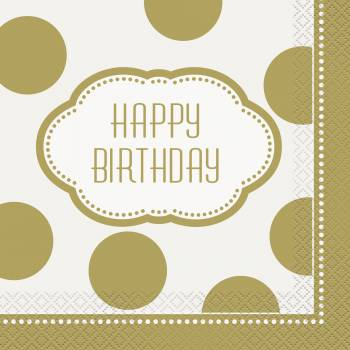 16 Serviettes golden birthday