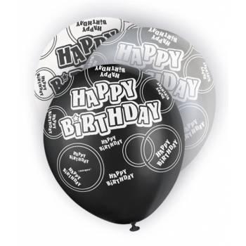 6 Ballons noir/blanc/gris Happy Birthday