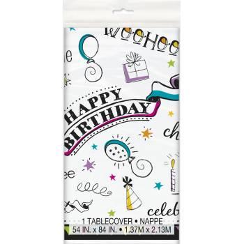 Nappe en plastique doodle birthday