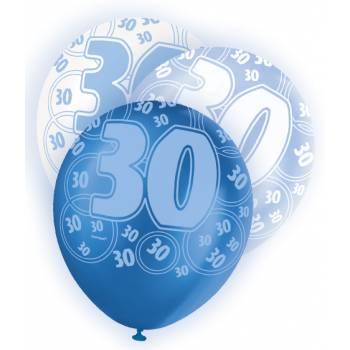 6 Ballons bleu/blanc 30 ans
