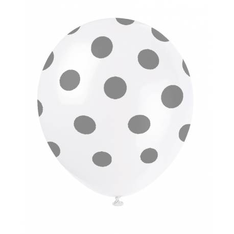 6 Ballons latex à pois argent mat Dimensions: Ø30cm
