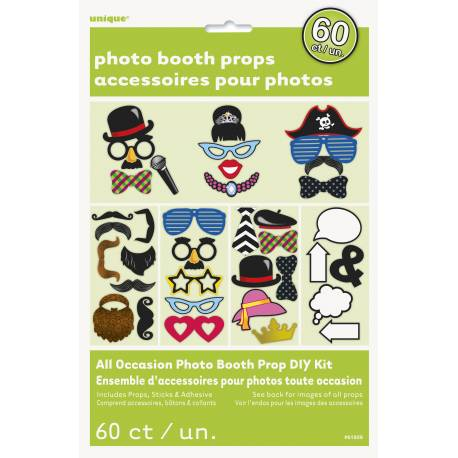 Kit d'accesoires pour faire des photobooth Contient 60pcs pour homme et femme