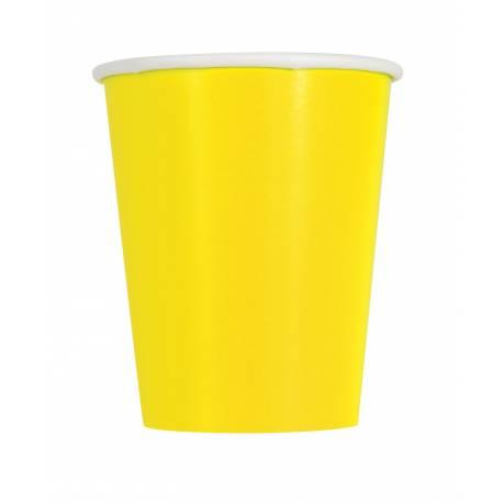 14gobelets en carton fluo jaune 27cl