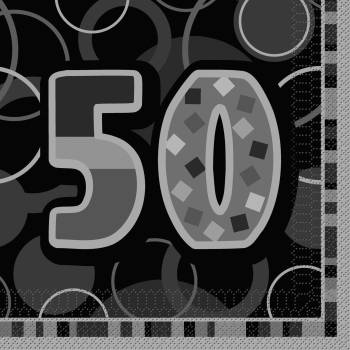 16 Serviettes 50 ans Black/White