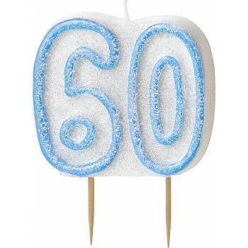 Bougie 60 ans Bleu pailleté