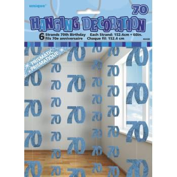 6 Guirlandes fils 70 ans Bleu