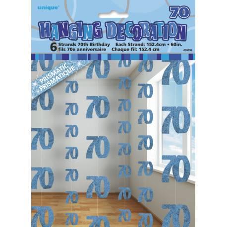 6 Guirlandes fil 70 ans bleu effet hologramme Chaque guirlande fait 152 cm de long Parfait pour la deco de votre fête ou anniversaire.