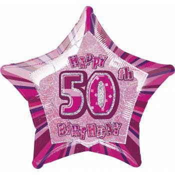 Ballon Star Pink 50 ans