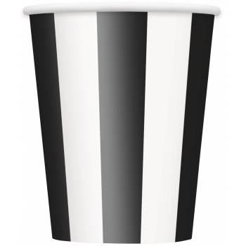8 gobelets rayures noire et blanche