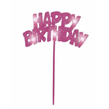 Pic clignotant à led Happy Birthday Parfait pour la deco de votre fête ou anniversaire.