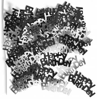 Confettis metallic Happy Birthday Black/White