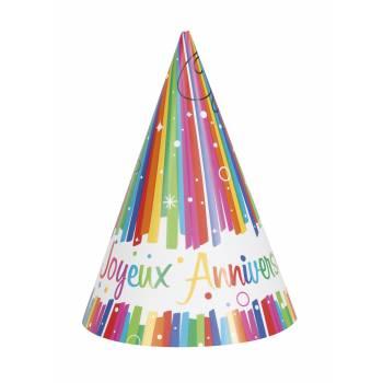 8 Chapeaux Joyeux anniversaire Rainbow