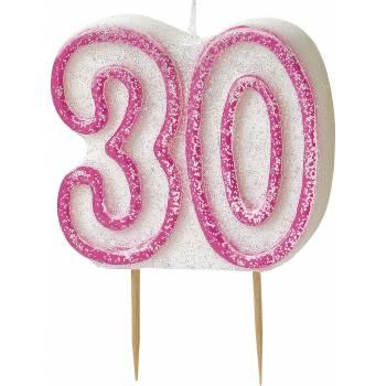 Bougie 30 ans Pink pailleté