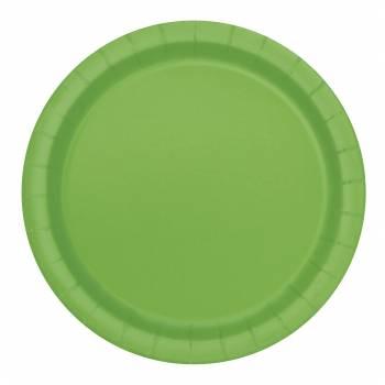 16 Assiettes en carton rondes vert lime