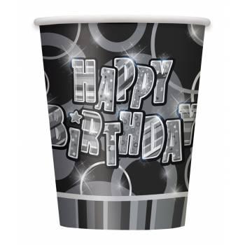 8 Gobelets Happy Birthday Black/White