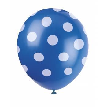 6 Ballons pois bleu
