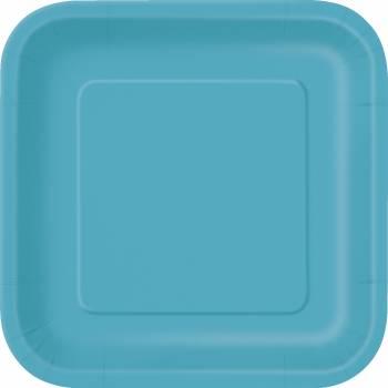 16 Assiettes dessert carrée bleu caraïbe