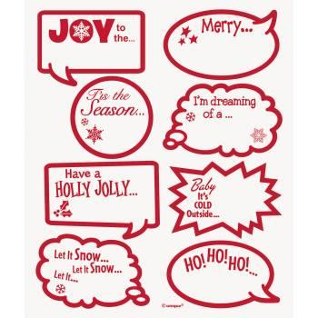 16 Etiquettes transparentes décor rouge Noël