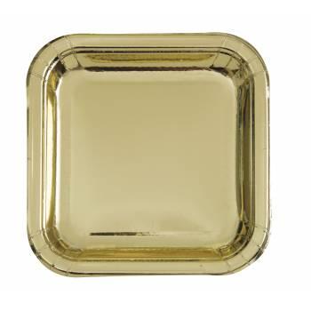 8 Assiettes carrée en carton or métallisé