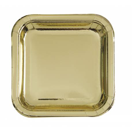 8 Assiettes carrée en carton de couleur or métallisé Dimensions : 23 cm x 23 cm