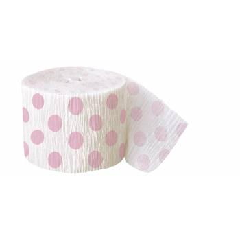 Guirlande papier crépon pois rose clair